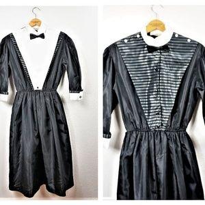 80's Goth French Designer Tuxedo Dress